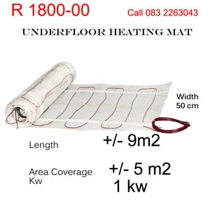 Underfloor heating mat 1 kw power