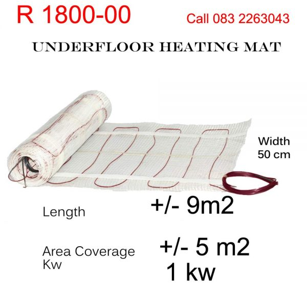 Under Floor Heating Mat - 5m2 area coverage