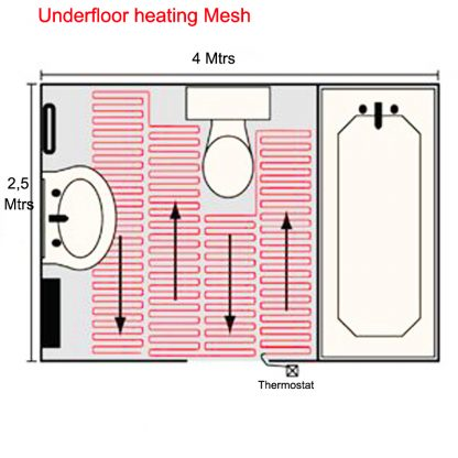 Undertile heating mesh